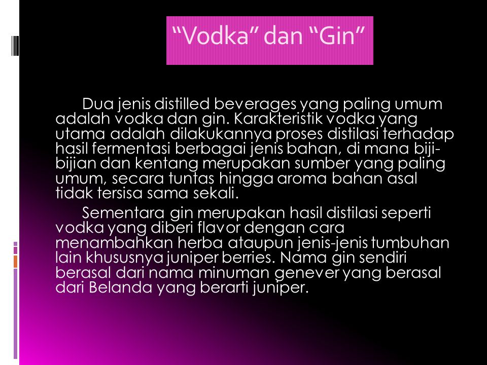 Vodka dan Gin