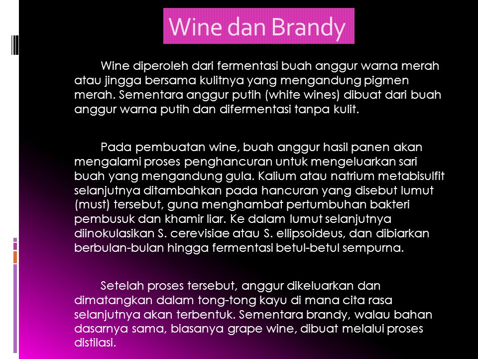 Wine dan Brandy