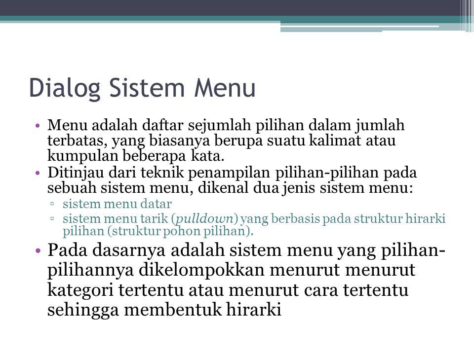 Dialog Sistem Menu Menu adalah daftar sejumlah pilihan dalam jumlah terbatas, yang biasanya berupa suatu kalimat atau kumpulan beberapa kata.