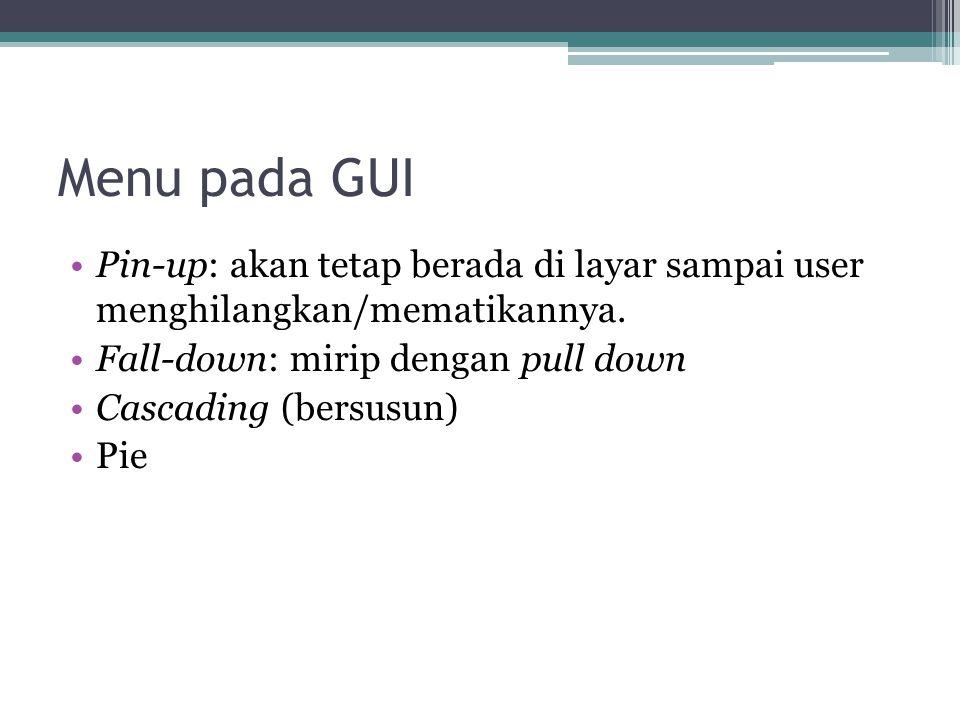 Menu pada GUI Pin-up: akan tetap berada di layar sampai user menghilangkan/mematikannya. Fall-down: mirip dengan pull down.