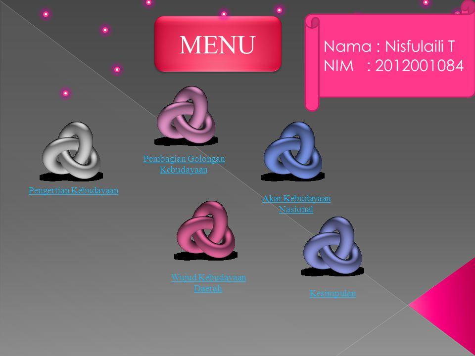 MENU Nama : Nisfulaili T NIM : 2012001084 Pembagian Golongan