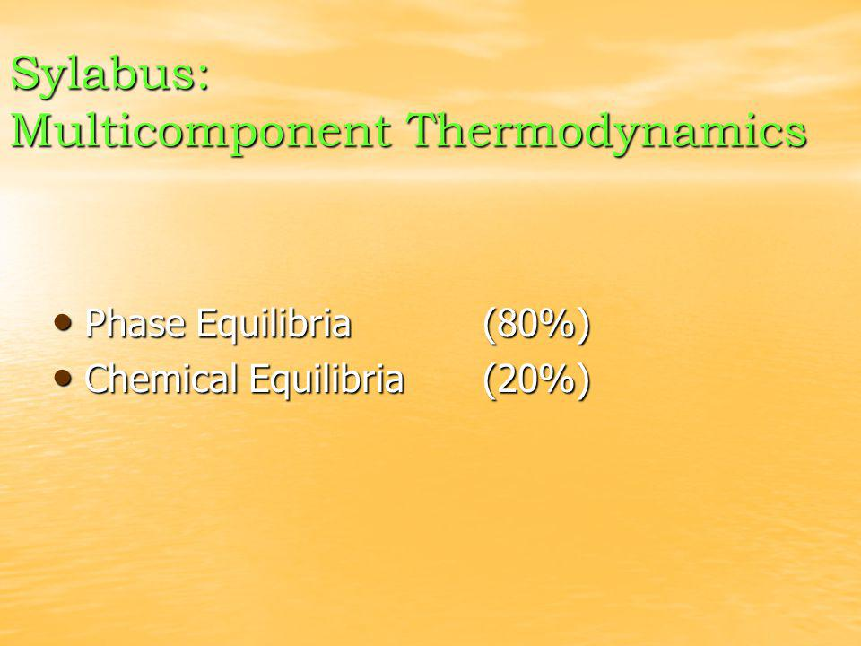 Sylabus: Multicomponent Thermodynamics