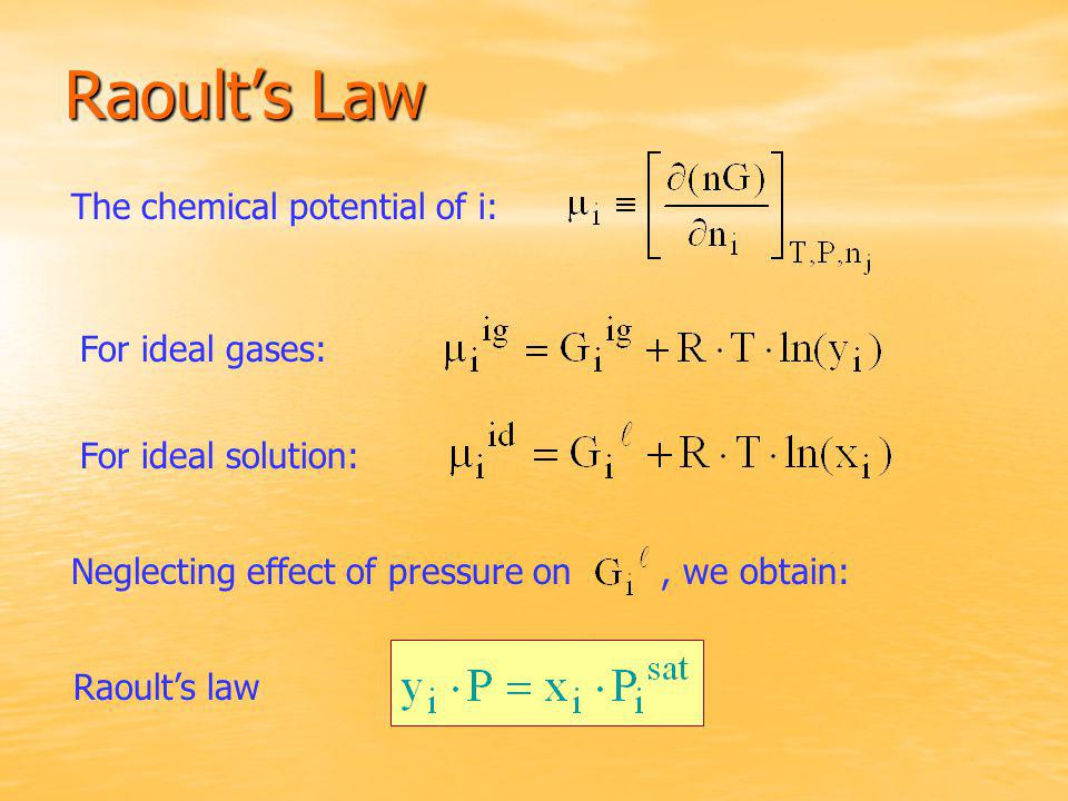 Raoult's Law The chemical potential of i: For ideal gases: