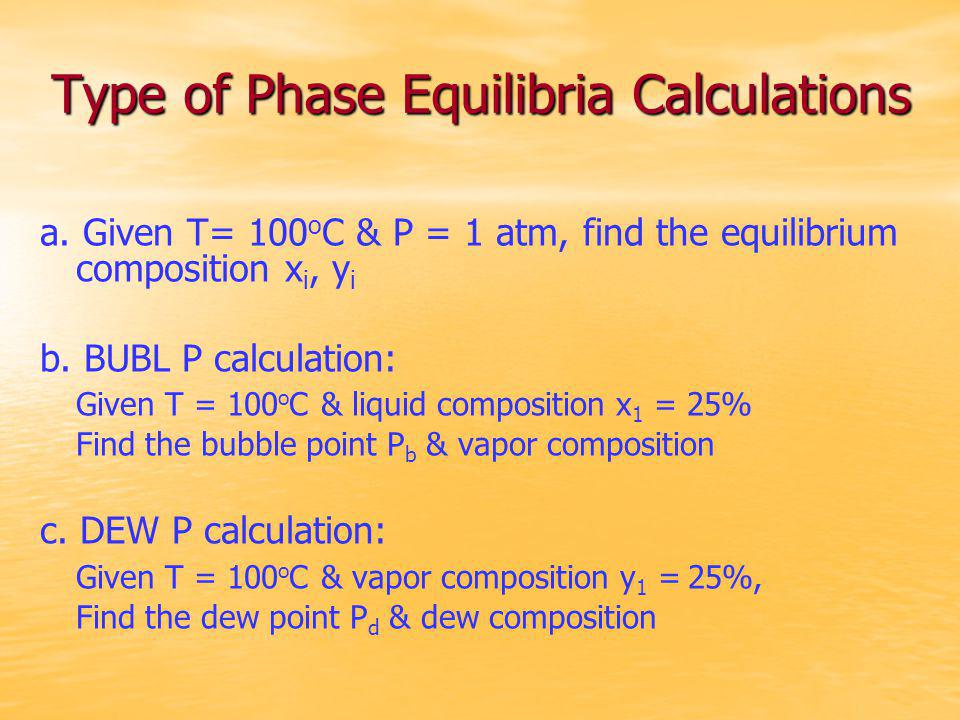 Type of Phase Equilibria Calculations
