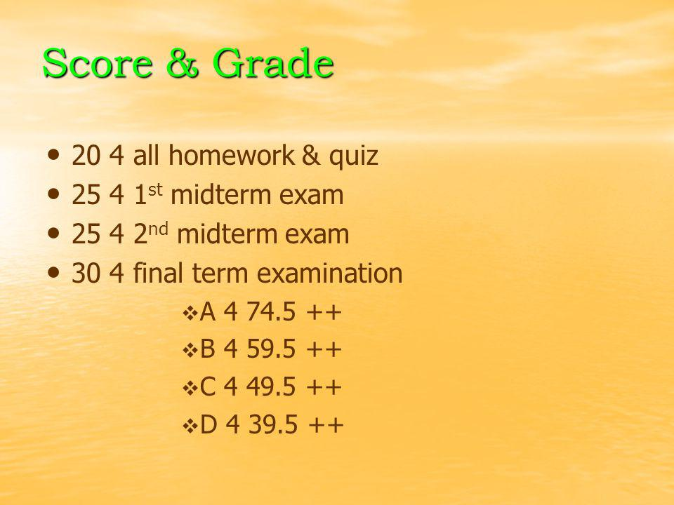 Score & Grade 20 4 all homework & quiz 25 4 1st midterm exam