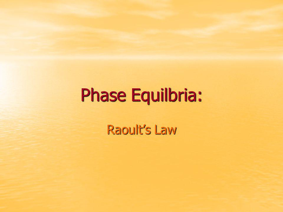 Phase Equilbria: Raoult's Law