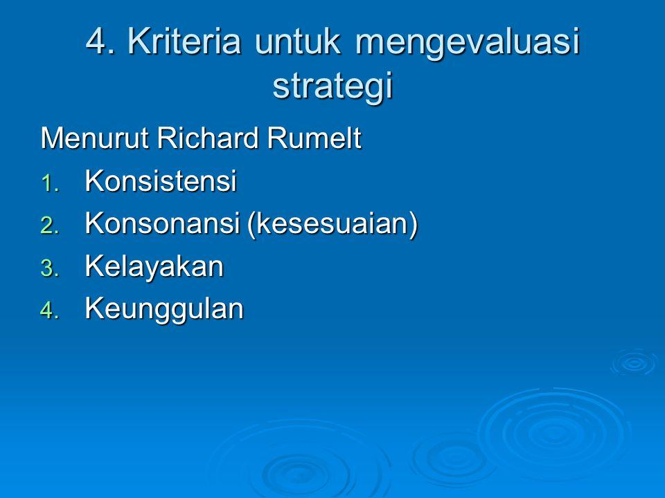 4. Kriteria untuk mengevaluasi strategi