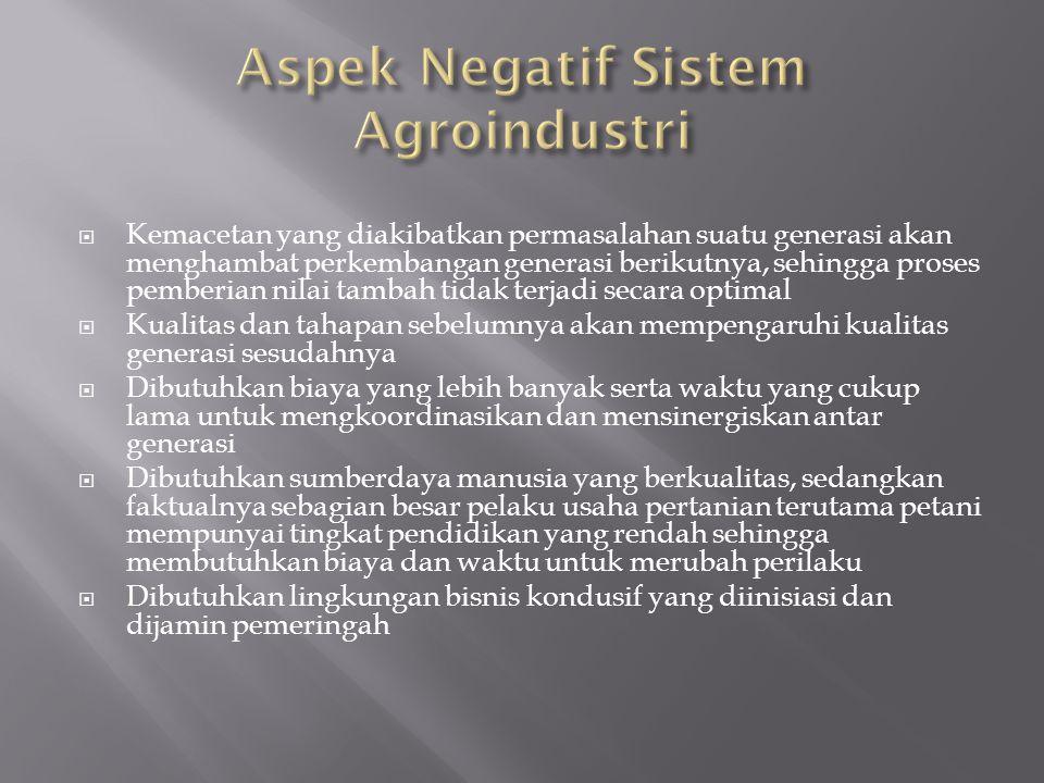 Aspek Negatif Sistem Agroindustri