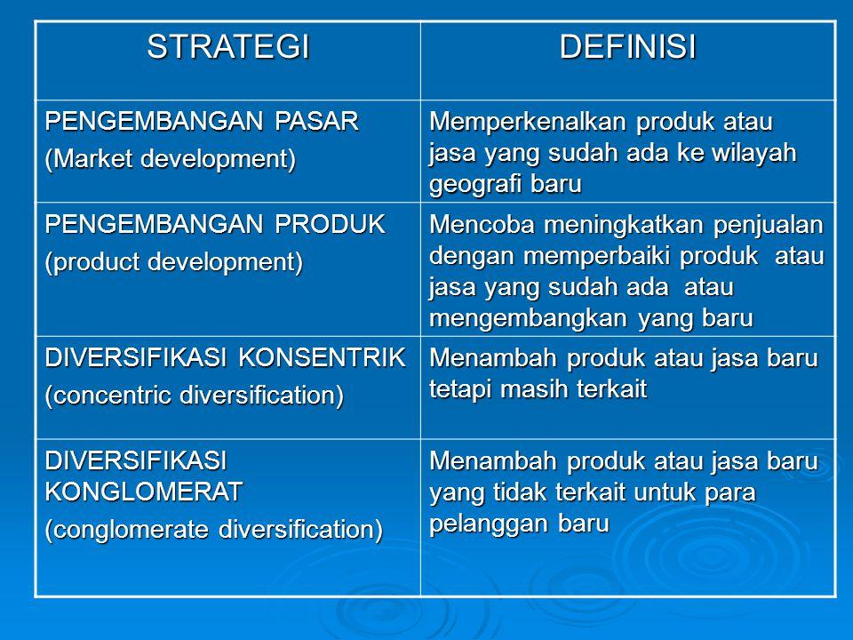STRATEGI DEFINISI PENGEMBANGAN PASAR (Market development)