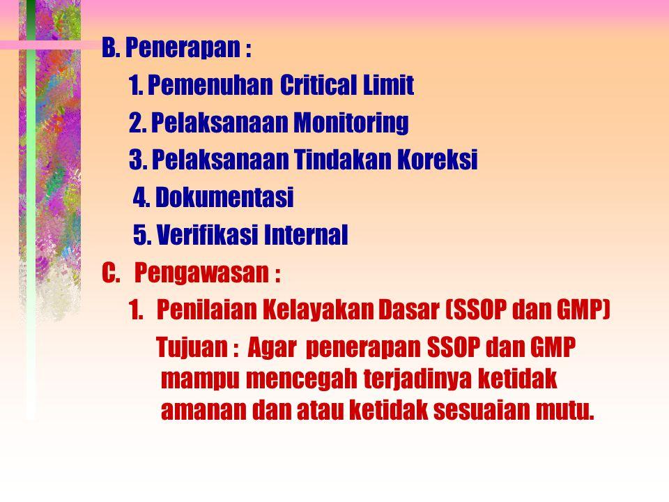B. Penerapan : 1. Pemenuhan Critical Limit 2. Pelaksanaan Monitoring 3