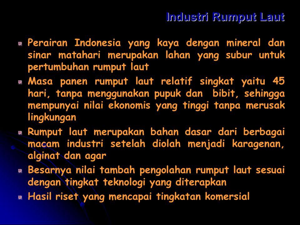 Industri Rumput Laut Perairan Indonesia yang kaya dengan mineral dan sinar matahari merupakan lahan yang subur untuk pertumbuhan rumput laut.