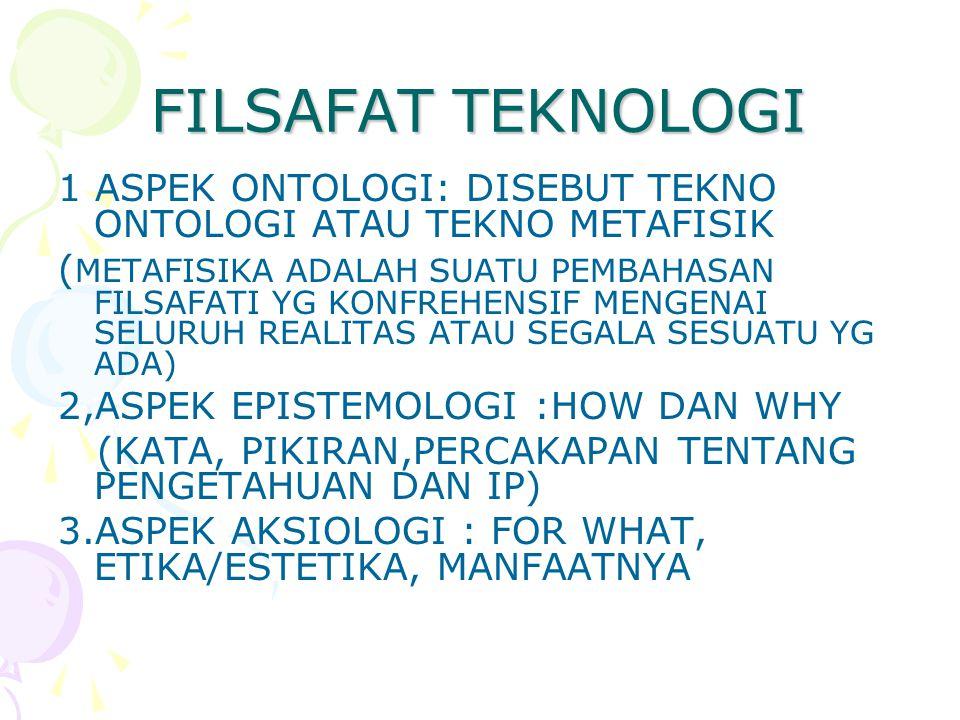 FILSAFAT TEKNOLOGI 1 ASPEK ONTOLOGI: DISEBUT TEKNO ONTOLOGI ATAU TEKNO METAFISIK.