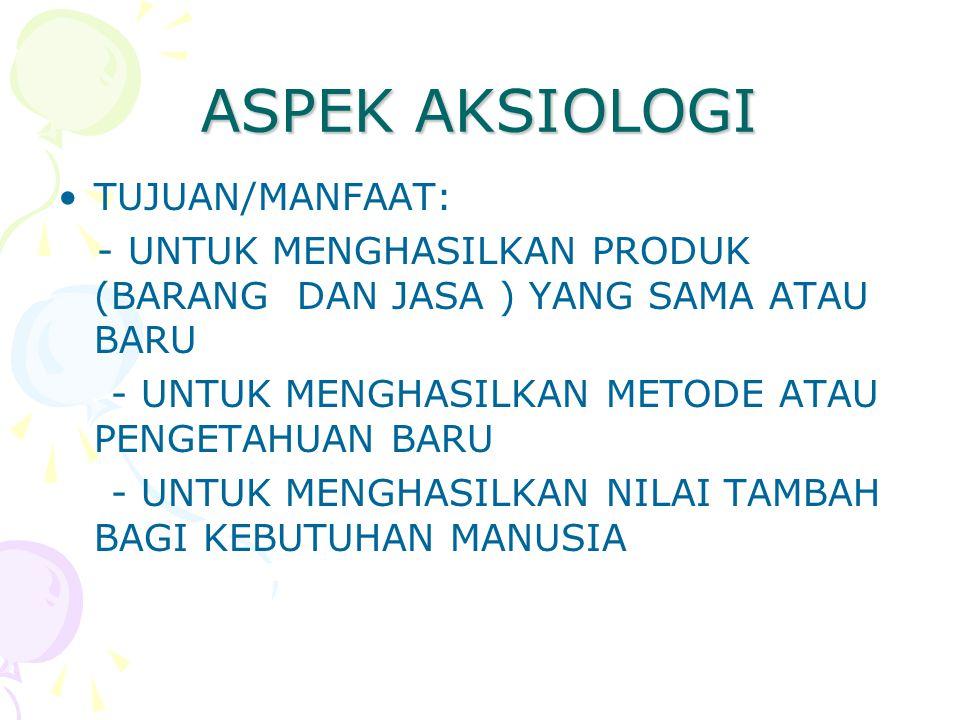 ASPEK AKSIOLOGI TUJUAN/MANFAAT: