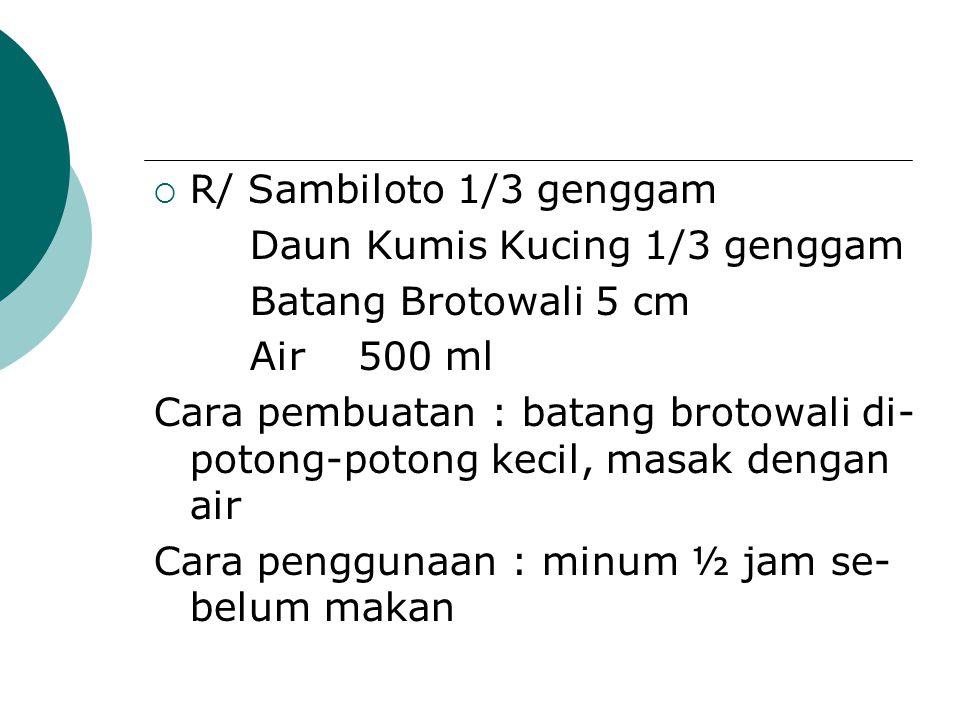 R/ Sambiloto 1/3 genggam Daun Kumis Kucing 1/3 genggam. Batang Brotowali 5 cm. Air 500 ml.