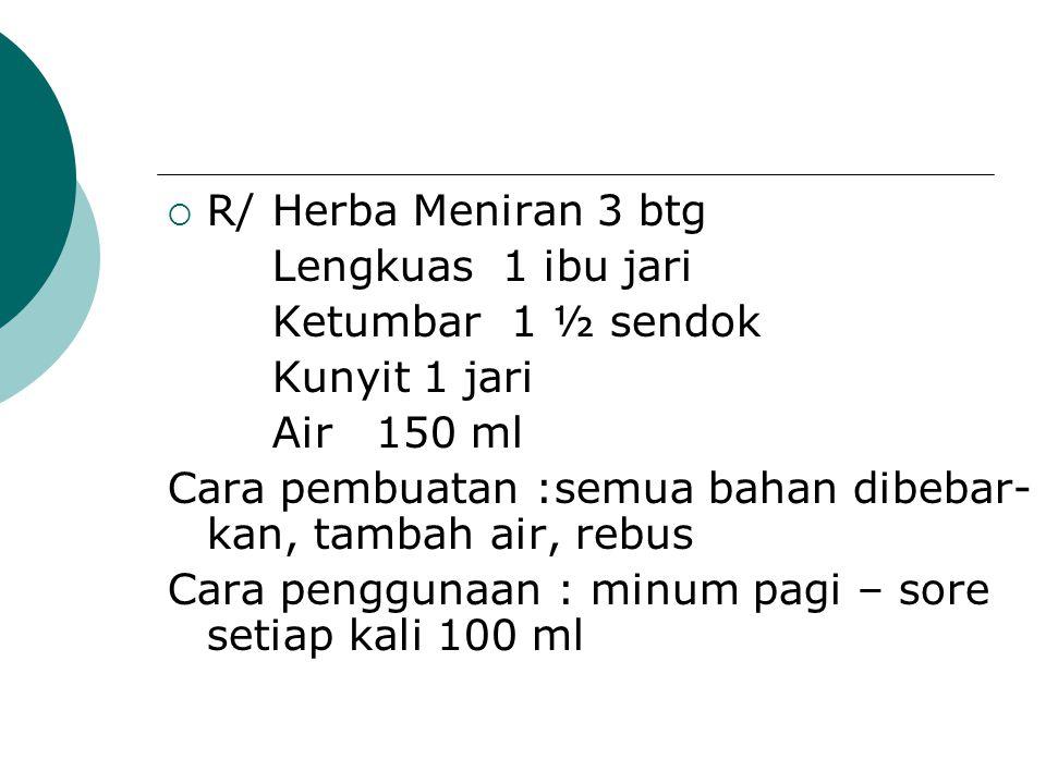 R/ Herba Meniran 3 btg Lengkuas 1 ibu jari. Ketumbar 1 ½ sendok. Kunyit 1 jari. Air 150 ml.