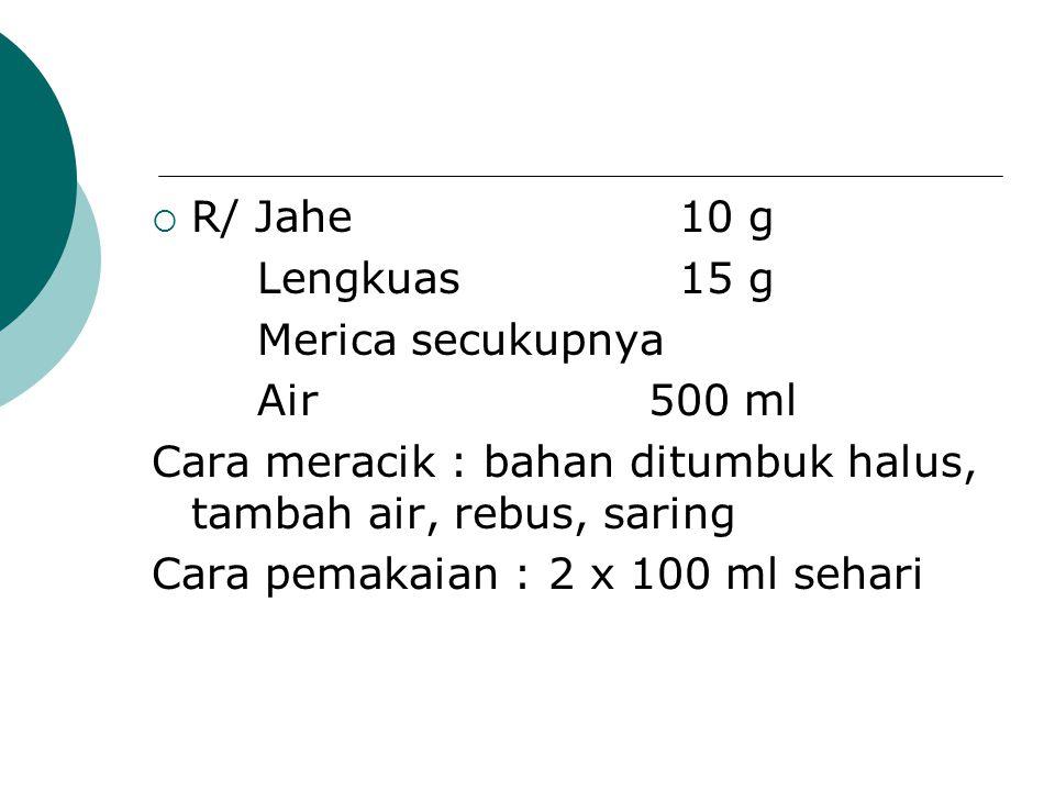 R/ Jahe 10 g Lengkuas 15 g. Merica secukupnya. Air 500 ml. Cara meracik : bahan ditumbuk halus, tambah air, rebus, saring.