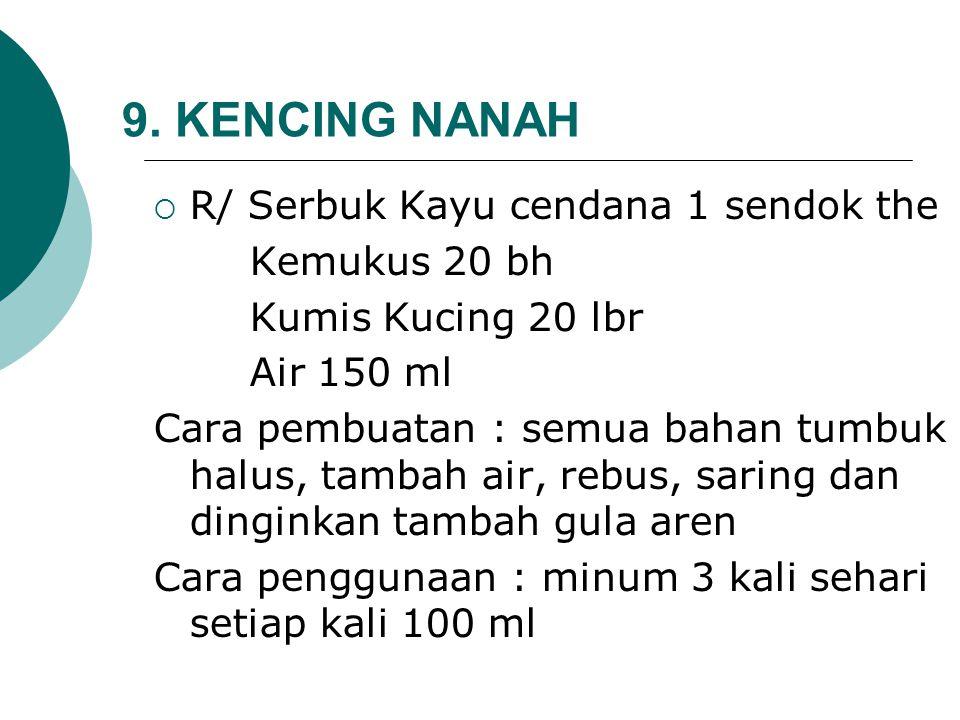 9. KENCING NANAH R/ Serbuk Kayu cendana 1 sendok the Kemukus 20 bh