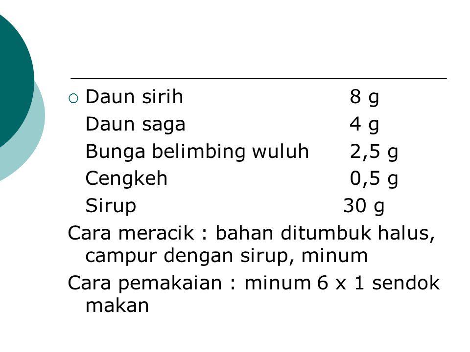 Daun sirih 8 g Daun saga 4 g. Bunga belimbing wuluh 2,5 g. Cengkeh 0,5 g. Sirup 30 g.