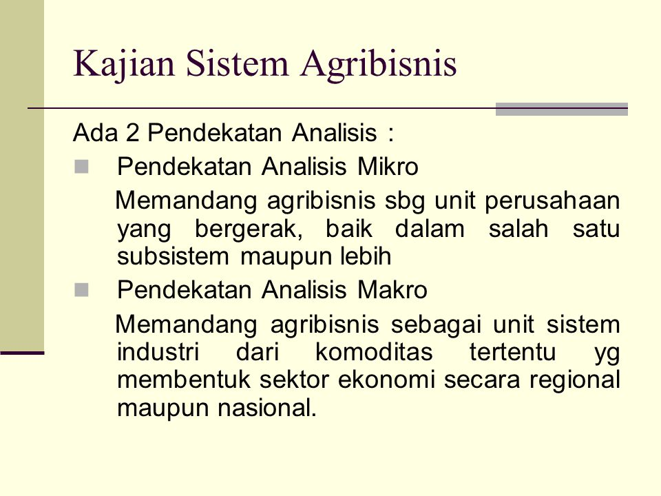 Kajian Sistem Agribisnis