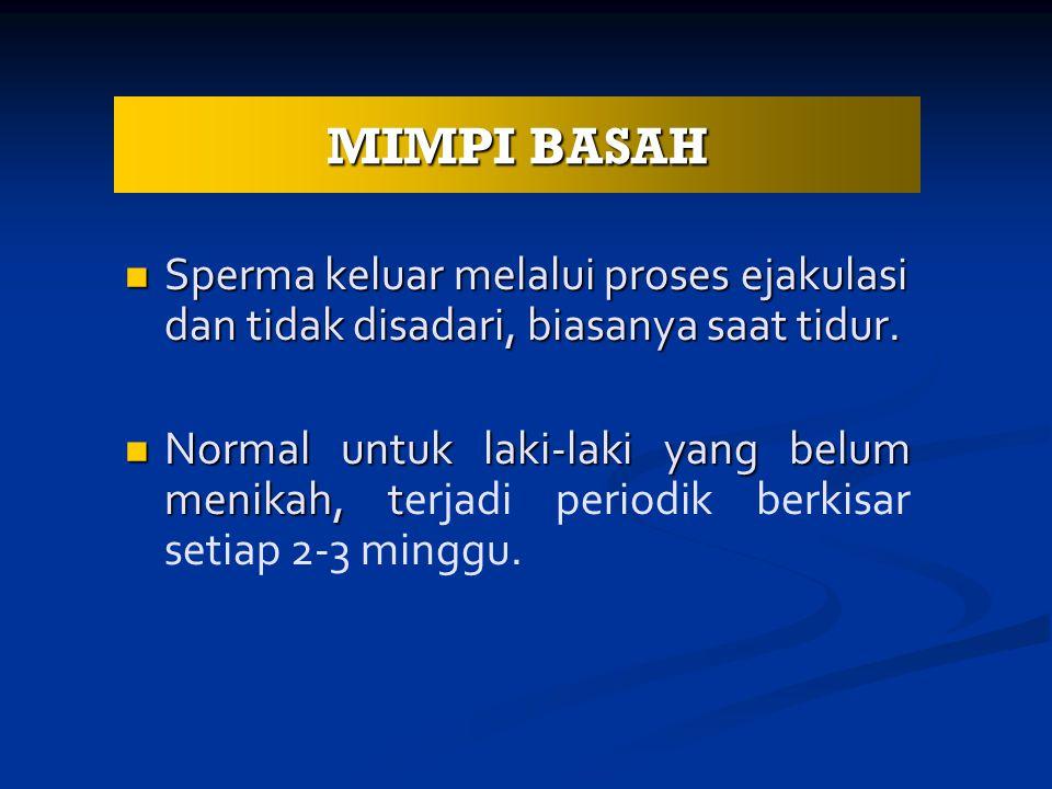 MIMPI BASAH Sperma keluar melalui proses ejakulasi dan tidak disadari, biasanya saat tidur.