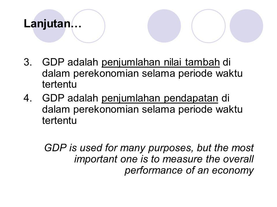 Lanjutan… GDP adalah penjumlahan nilai tambah di dalam perekonomian selama periode waktu tertentu.