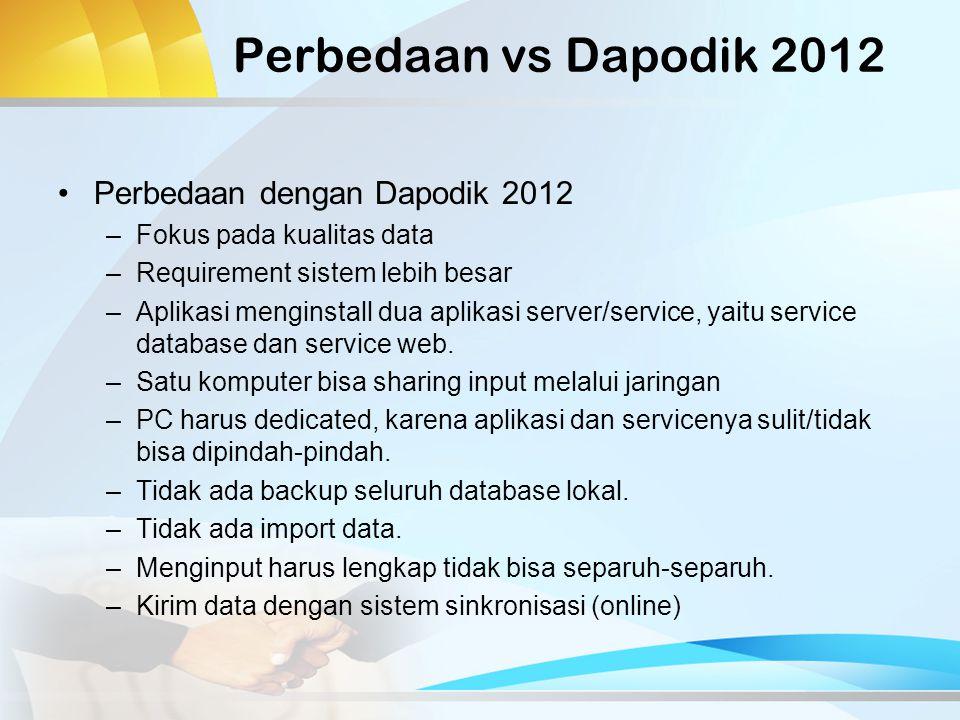 Perbedaan vs Dapodik 2012 Perbedaan dengan Dapodik 2012