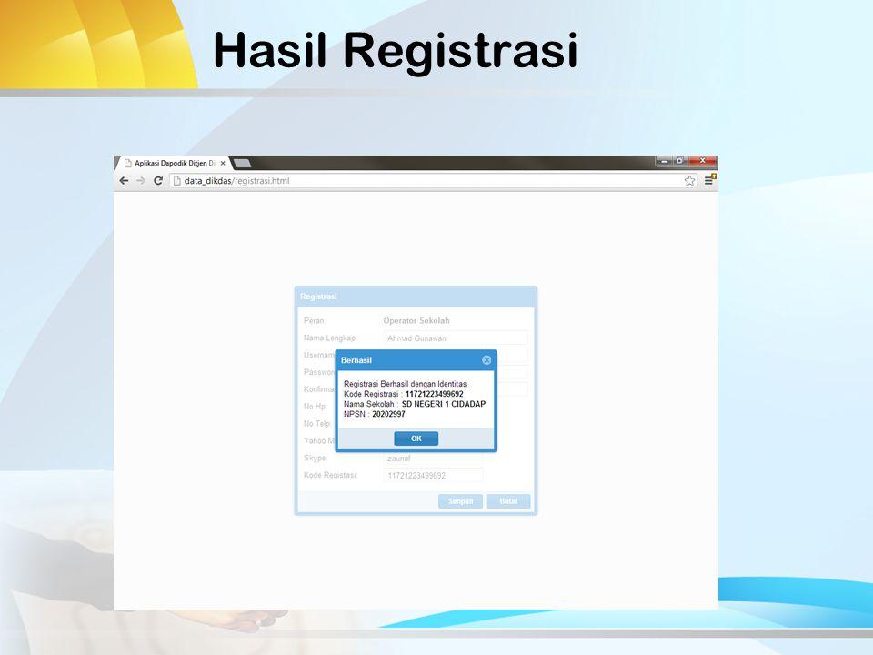 Hasil Registrasi