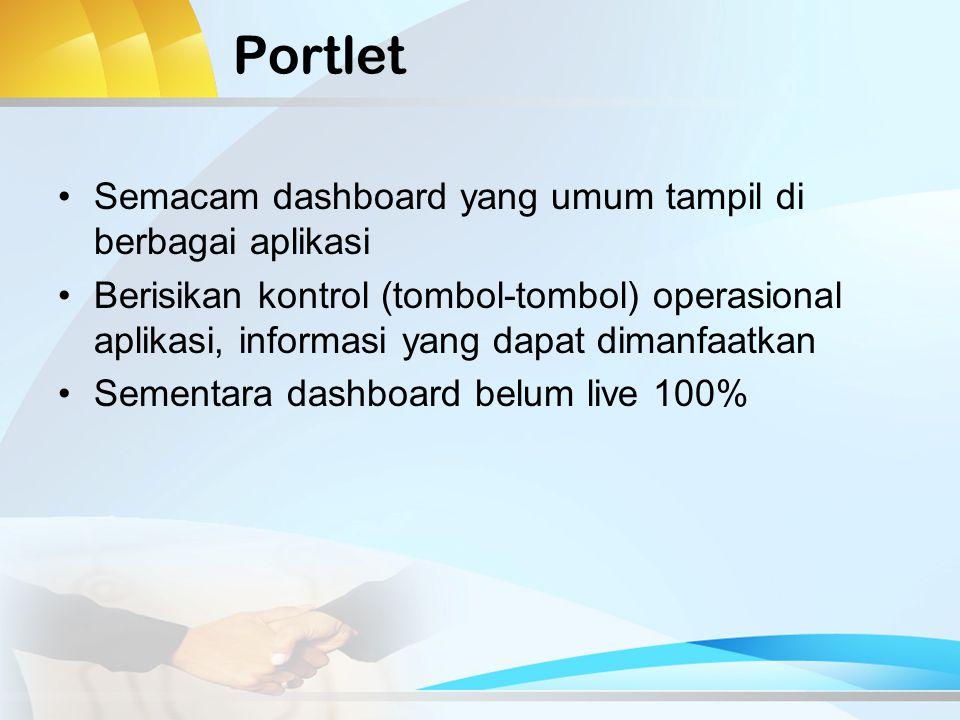 Portlet Semacam dashboard yang umum tampil di berbagai aplikasi