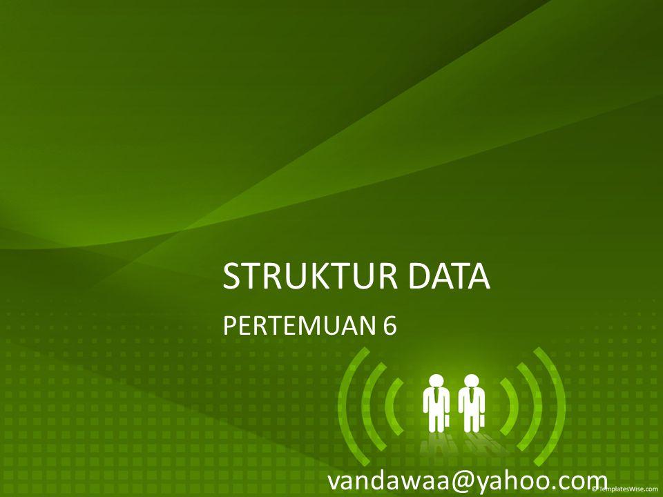 STRUKTUR DATA PERTEMUAN 6 vandawaa@yahoo.com