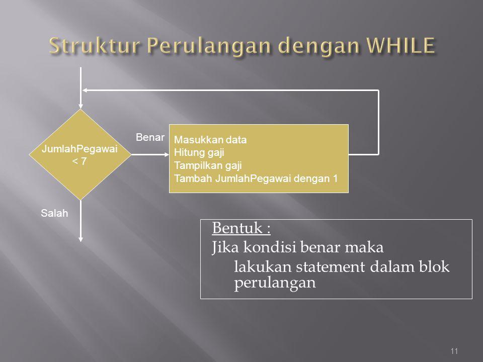 Struktur Perulangan dengan WHILE