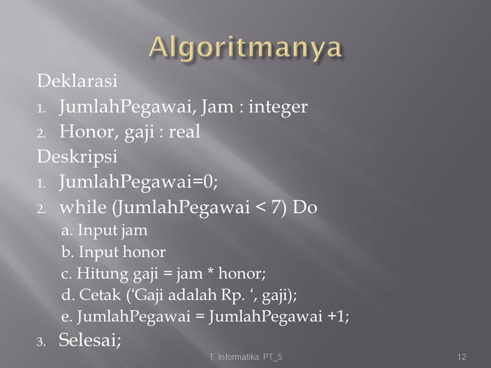 Algoritmanya Deklarasi JumlahPegawai, Jam : integer Honor, gaji : real