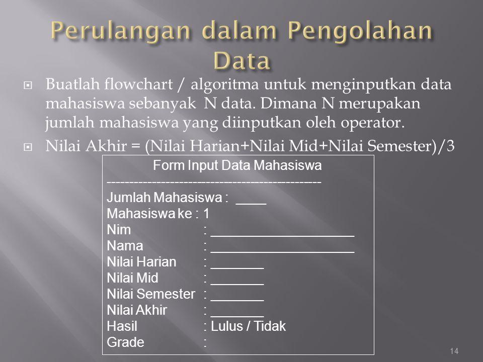 Perulangan dalam Pengolahan Data