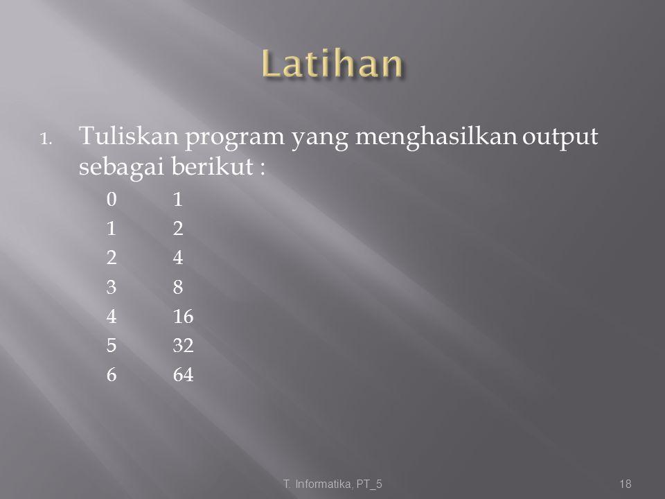 Latihan Tuliskan program yang menghasilkan output sebagai berikut :