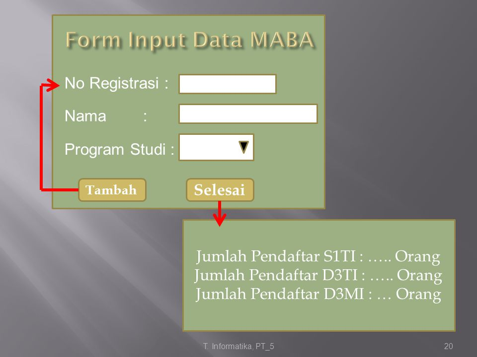 Form Input Data MABA No Registrasi : Nama : Program Studi : Selesai