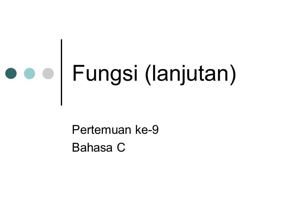 Fungsi (lanjutan) Pertemuan ke-9 Bahasa C