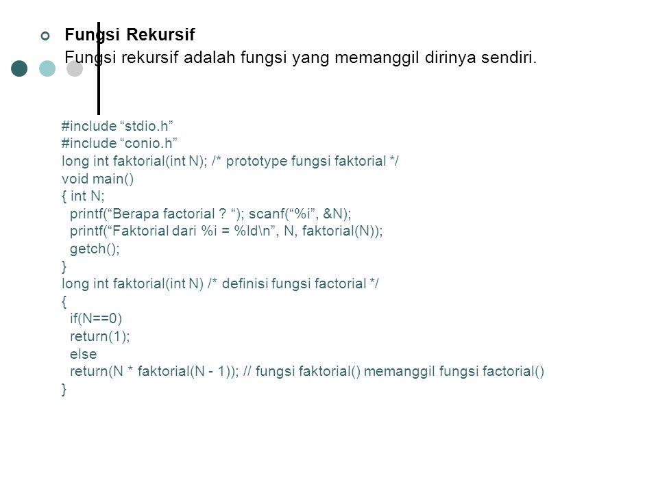 Fungsi rekursif adalah fungsi yang memanggil dirinya sendiri.