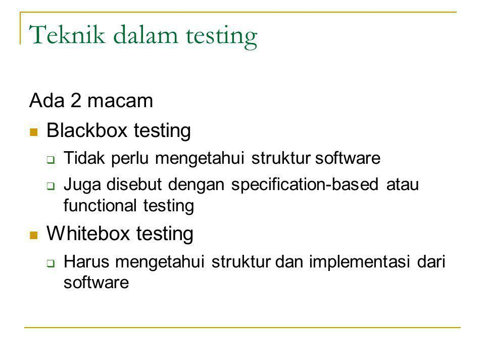 Teknik dalam testing Ada 2 macam Blackbox testing Whitebox testing