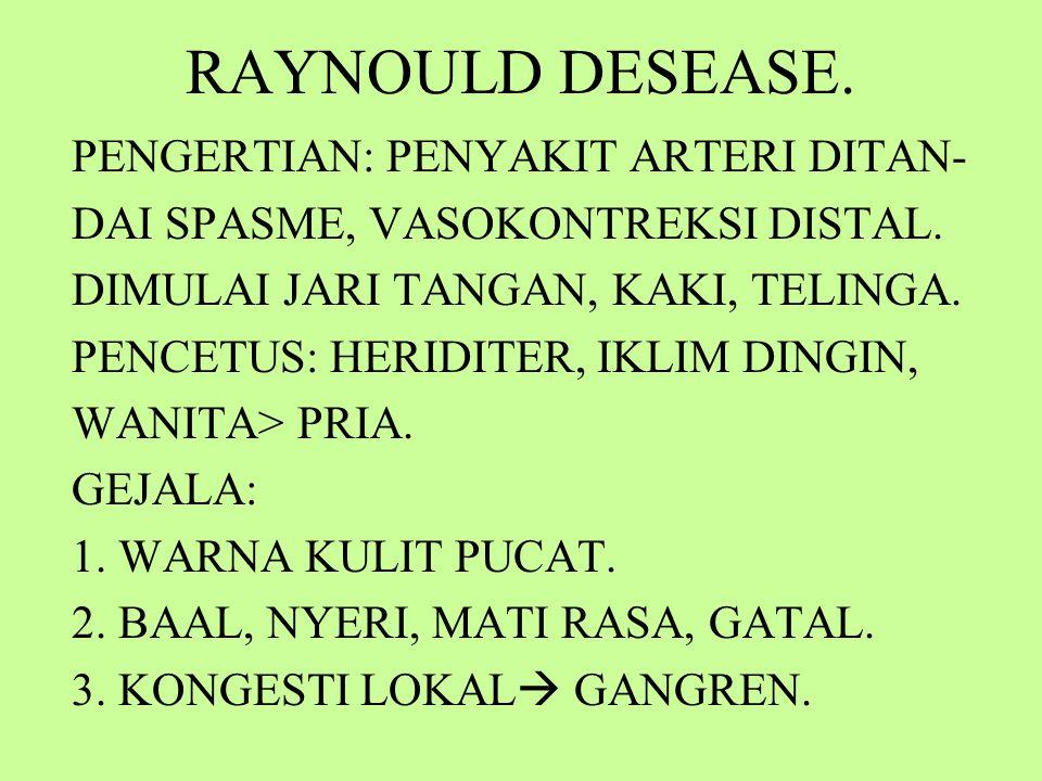 RAYNOULD DESEASE. PENGERTIAN: PENYAKIT ARTERI DITAN-