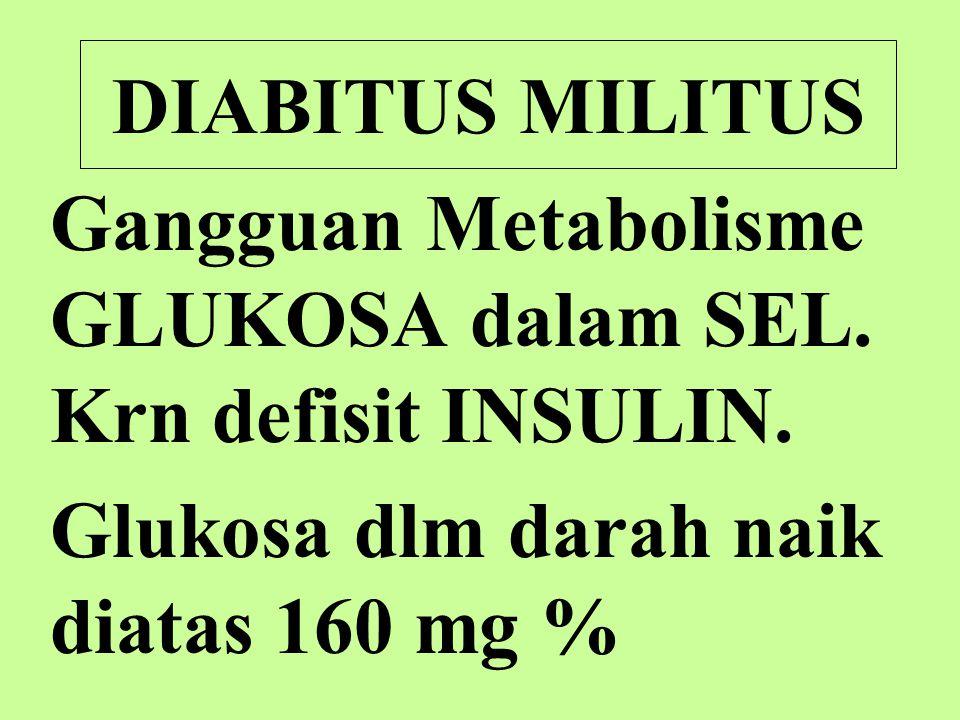 DIABITUS MILITUS Gangguan Metabolisme GLUKOSA dalam SEL.