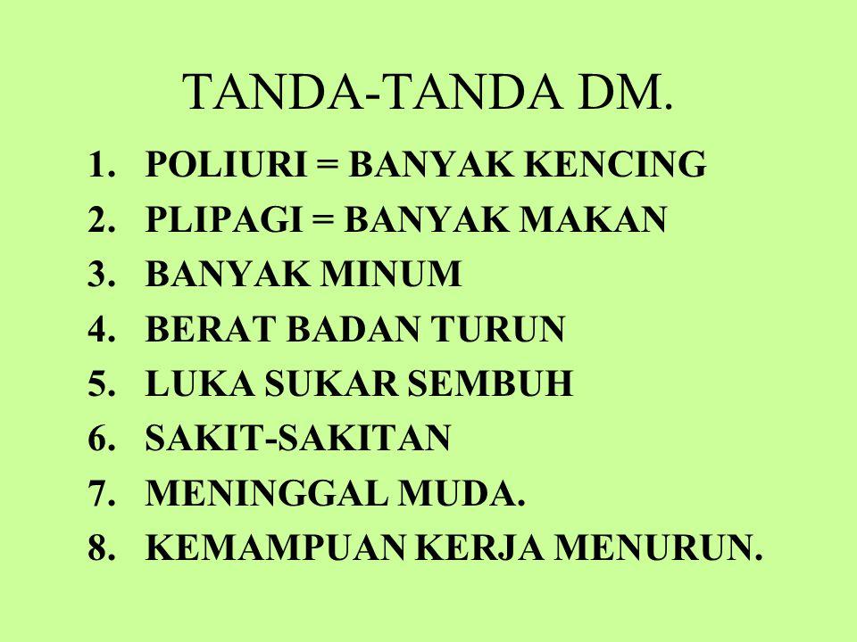 TANDA-TANDA DM. POLIURI = BANYAK KENCING PLIPAGI = BANYAK MAKAN