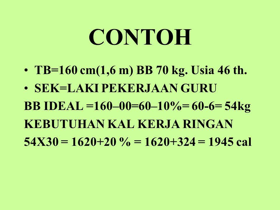 CONTOH TB=160 cm(1,6 m) BB 70 kg. Usia 46 th. SEK=LAKI PEKERJAAN GURU