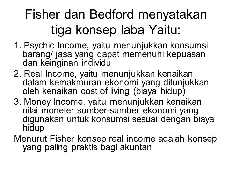 Fisher dan Bedford menyatakan tiga konsep laba Yaitu: