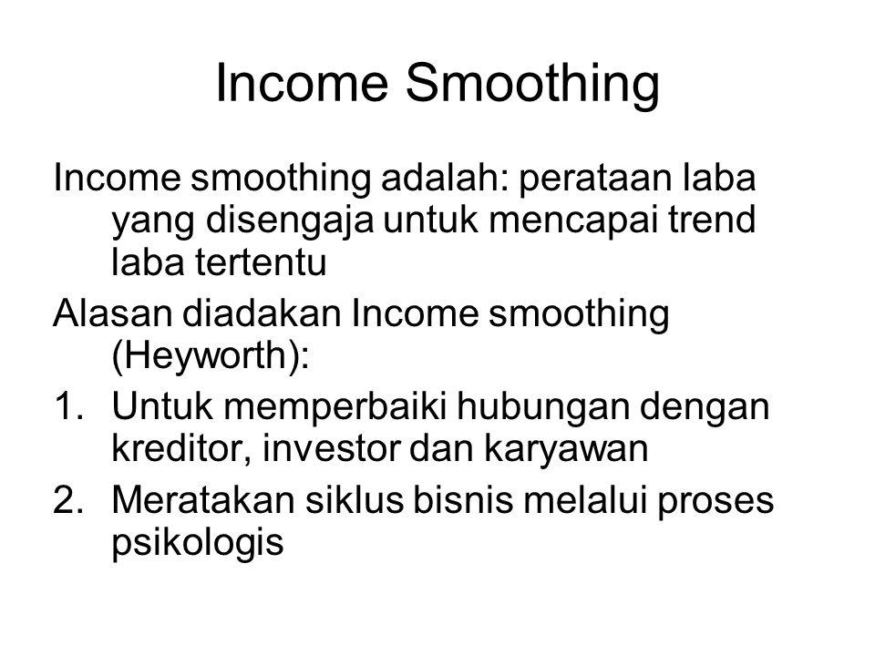 Income Smoothing Income smoothing adalah: perataan laba yang disengaja untuk mencapai trend laba tertentu.