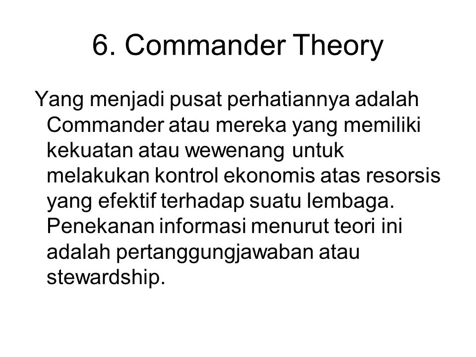 6. Commander Theory