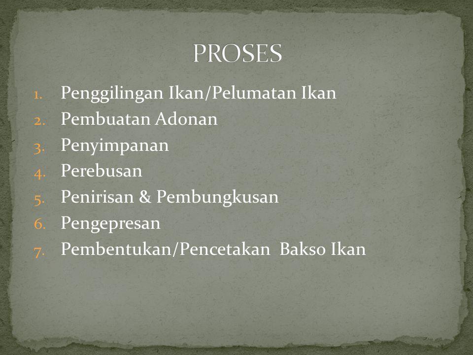 PROSES Penggilingan Ikan/Pelumatan Ikan Pembuatan Adonan Penyimpanan
