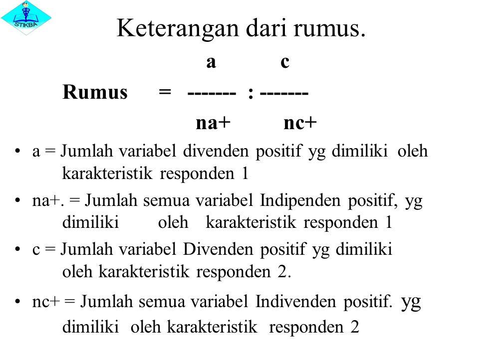 Keterangan dari rumus. a c Rumus = ------- : ------- na+ nc+