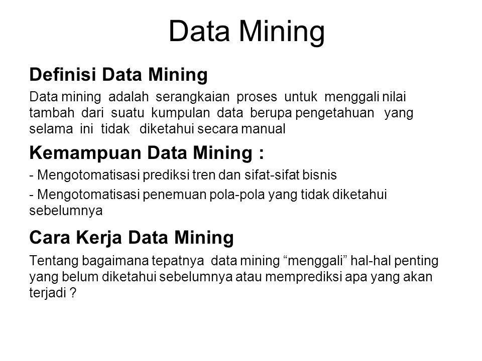 Data Mining Definisi Data Mining Kemampuan Data Mining :