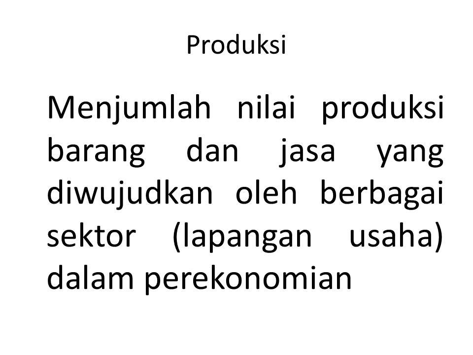 Produksi Menjumlah nilai produksi barang dan jasa yang diwujudkan oleh berbagai sektor (lapangan usaha) dalam perekonomian.