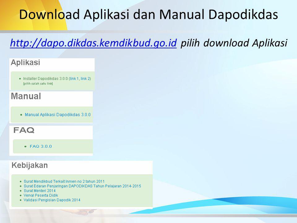 Download Aplikasi dan Manual Dapodikdas
