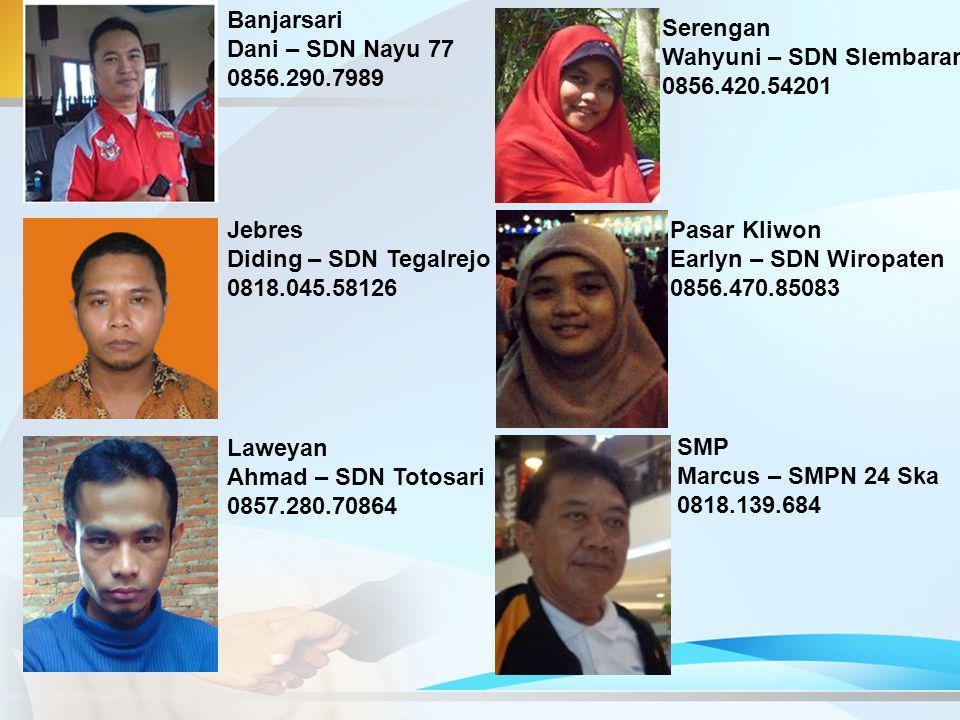 Banjarsari Dani – SDN Nayu 77. 0856.290.7989. Serengan. Wahyuni – SDN Slembaran. 0856.420.54201.